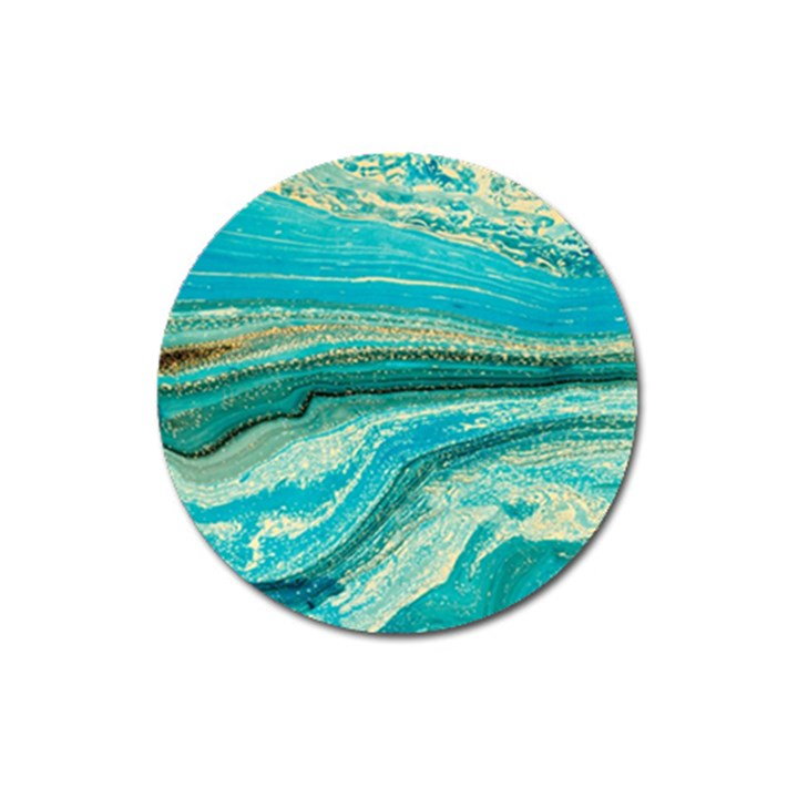 Mint,gold,marble,nature,stone,pattern,modern,chic,elegant,beautiful,trendy Magnet 3  (Round)