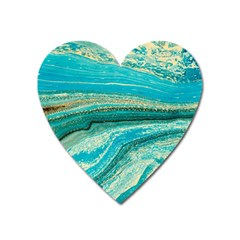 Mint,gold,marble,nature,stone,pattern,modern,chic,elegant,beautiful,trendy Heart Magnet