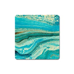 Mint,gold,marble,nature,stone,pattern,modern,chic,elegant,beautiful,trendy Square Magnet