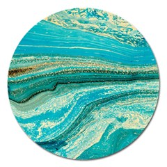 Mint,gold,marble,nature,stone,pattern,modern,chic,elegant,beautiful,trendy Magnet 5  (Round)
