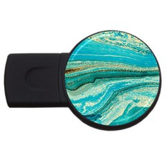 Mint,gold,marble,nature,stone,pattern,modern,chic,elegant,beautiful,trendy USB Flash Drive Round (2 GB)