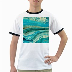 Mint,gold,marble,nature,stone,pattern,modern,chic,elegant,beautiful,trendy Ringer T-Shirts