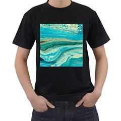 Mint,gold,marble,nature,stone,pattern,modern,chic,elegant,beautiful,trendy Men s T-Shirt (Black) (Two Sided)