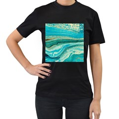 Mint,gold,marble,nature,stone,pattern,modern,chic,elegant,beautiful,trendy Women s T-Shirt (Black) (Two Sided)