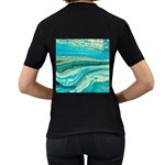 Mint,gold,marble,nature,stone,pattern,modern,chic,elegant,beautiful,trendy Women s T-Shirt (Black) (Two Sided) Back