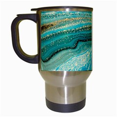 Mint,gold,marble,nature,stone,pattern,modern,chic,elegant,beautiful,trendy Travel Mugs (white)
