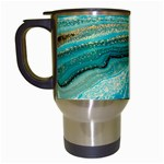 Mint,gold,marble,nature,stone,pattern,modern,chic,elegant,beautiful,trendy Travel Mugs (White) Left