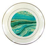Mint,gold,marble,nature,stone,pattern,modern,chic,elegant,beautiful,trendy Porcelain Plates Front