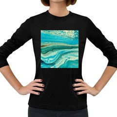 Mint,gold,marble,nature,stone,pattern,modern,chic,elegant,beautiful,trendy Women s Long Sleeve Dark T-Shirts