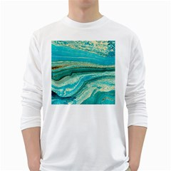 Mint,gold,marble,nature,stone,pattern,modern,chic,elegant,beautiful,trendy White Long Sleeve T-Shirts