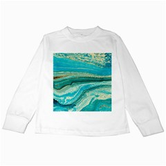 Mint,gold,marble,nature,stone,pattern,modern,chic,elegant,beautiful,trendy Kids Long Sleeve T Shirts by 8fugoso