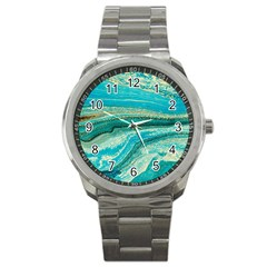 Mint,gold,marble,nature,stone,pattern,modern,chic,elegant,beautiful,trendy Sport Metal Watch