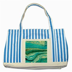 Mint,gold,marble,nature,stone,pattern,modern,chic,elegant,beautiful,trendy Striped Blue Tote Bag