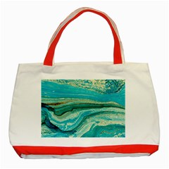 Mint,gold,marble,nature,stone,pattern,modern,chic,elegant,beautiful,trendy Classic Tote Bag (Red)