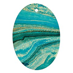 Mint,gold,marble,nature,stone,pattern,modern,chic,elegant,beautiful,trendy Oval Ornament (Two Sides)