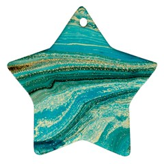 Mint,gold,marble,nature,stone,pattern,modern,chic,elegant,beautiful,trendy Star Ornament (Two Sides)