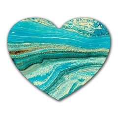 Mint,gold,marble,nature,stone,pattern,modern,chic,elegant,beautiful,trendy Heart Mousepads