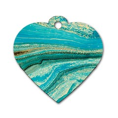 Mint,gold,marble,nature,stone,pattern,modern,chic,elegant,beautiful,trendy Dog Tag Heart (One Side)