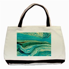 Mint,gold,marble,nature,stone,pattern,modern,chic,elegant,beautiful,trendy Basic Tote Bag (Two Sides)