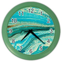 Mint,gold,marble,nature,stone,pattern,modern,chic,elegant,beautiful,trendy Color Wall Clocks by 8fugoso