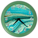 Mint,gold,marble,nature,stone,pattern,modern,chic,elegant,beautiful,trendy Color Wall Clocks Front