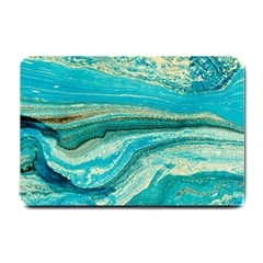 Mint,gold,marble,nature,stone,pattern,modern,chic,elegant,beautiful,trendy Small Doormat