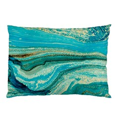 Mint,gold,marble,nature,stone,pattern,modern,chic,elegant,beautiful,trendy Pillow Case