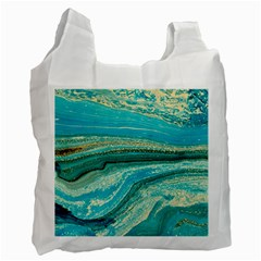 Mint,gold,marble,nature,stone,pattern,modern,chic,elegant,beautiful,trendy Recycle Bag (One Side)
