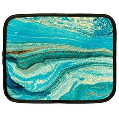 Mint,gold,marble,nature,stone,pattern,modern,chic,elegant,beautiful,trendy Netbook Case (XXL)