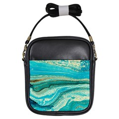 Mint,gold,marble,nature,stone,pattern,modern,chic,elegant,beautiful,trendy Girls Sling Bags
