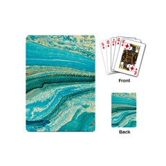 Mint,gold,marble,nature,stone,pattern,modern,chic,elegant,beautiful,trendy Playing Cards (Mini)
