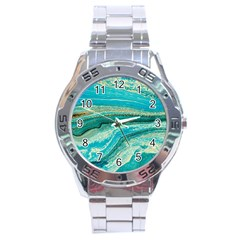 Mint,gold,marble,nature,stone,pattern,modern,chic,elegant,beautiful,trendy Stainless Steel Analogue Watch