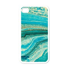 Mint,gold,marble,nature,stone,pattern,modern,chic,elegant,beautiful,trendy Apple iPhone 4 Case (White)