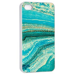 Mint,gold,marble,nature,stone,pattern,modern,chic,elegant,beautiful,trendy Apple iPhone 4/4s Seamless Case (White)