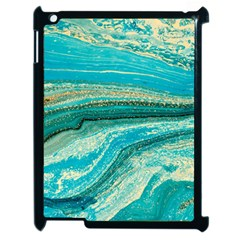 Mint,gold,marble,nature,stone,pattern,modern,chic,elegant,beautiful,trendy Apple Ipad 2 Case (black) by 8fugoso
