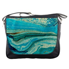 Mint,gold,marble,nature,stone,pattern,modern,chic,elegant,beautiful,trendy Messenger Bags