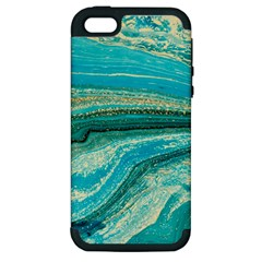 Mint,gold,marble,nature,stone,pattern,modern,chic,elegant,beautiful,trendy Apple iPhone 5 Hardshell Case (PC+Silicone)