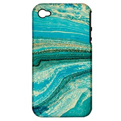 Mint,gold,marble,nature,stone,pattern,modern,chic,elegant,beautiful,trendy Apple iPhone 4/4S Hardshell Case (PC+Silicone)