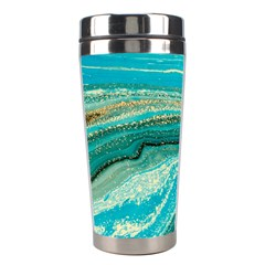 Mint,gold,marble,nature,stone,pattern,modern,chic,elegant,beautiful,trendy Stainless Steel Travel Tumblers