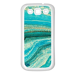 Mint,gold,marble,nature,stone,pattern,modern,chic,elegant,beautiful,trendy Samsung Galaxy S3 Back Case (White)