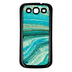 Mint,gold,marble,nature,stone,pattern,modern,chic,elegant,beautiful,trendy Samsung Galaxy S3 Back Case (Black)