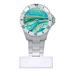 Mint,gold,marble,nature,stone,pattern,modern,chic,elegant,beautiful,trendy Plastic Nurses Watch