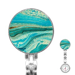 Mint,gold,marble,nature,stone,pattern,modern,chic,elegant,beautiful,trendy Stainless Steel Nurses Watch