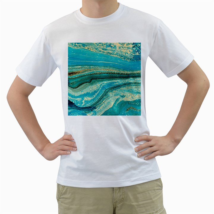 Mint,gold,marble,nature,stone,pattern,modern,chic,elegant,beautiful,trendy Men s T-Shirt (White)