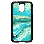 Mint,gold,marble,nature,stone,pattern,modern,chic,elegant,beautiful,trendy Samsung Galaxy S5 Case (Black) Front