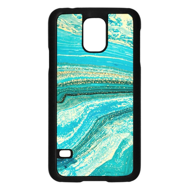 Mint,gold,marble,nature,stone,pattern,modern,chic,elegant,beautiful,trendy Samsung Galaxy S5 Case (Black)