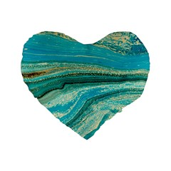 Mint,gold,marble,nature,stone,pattern,modern,chic,elegant,beautiful,trendy Standard 16  Premium Flano Heart Shape Cushions
