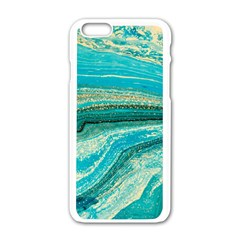 Mint,gold,marble,nature,stone,pattern,modern,chic,elegant,beautiful,trendy Apple Iphone 6/6s White Enamel Case