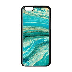 Mint,gold,marble,nature,stone,pattern,modern,chic,elegant,beautiful,trendy Apple iPhone 6/6S Black Enamel Case