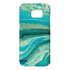 Mint,gold,marble,nature,stone,pattern,modern,chic,elegant,beautiful,trendy Samsung Galaxy S7 Edge Hardshell Case